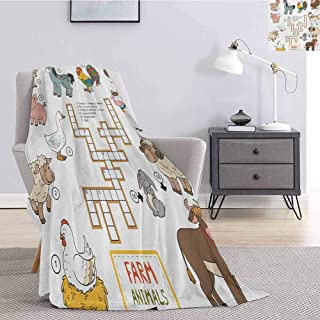 Luoiaax Kids Game Bedding Fleece Blanket Queen Size Crossword Educational Puzzle for Children with Different Farm Animals and Numbers Fluffy Decorative Blanket for Couch W60 x L91 Inch Multicolor