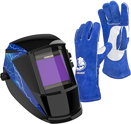 high quality YESWELDER outlet sale Large Viewing Solar Powered Auto Darkening Welding Helmet & Leather sale Forge MIG Welding Gloves sale