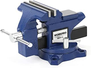 """WORKPRO Bench Vise, 4.5"""" Heavy-Duty Utility Combination Pipe Home Vise, Swivel Base Bench for Woodworking"""