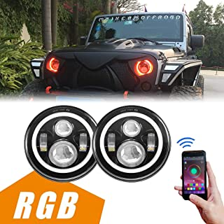 MAIKER 7 inch LED Headlights with RGB Angel Eye Halo for Jeep Wrangler 1997-2017 JK TJ LJ 7 inch Round DRL Headlamp With Cell Phone APP Bluetooth Remote Control
