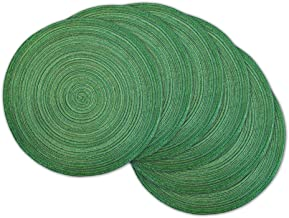 DII CAMZ35065 Varigated Round Placemat Set of 6, Sparkle Green