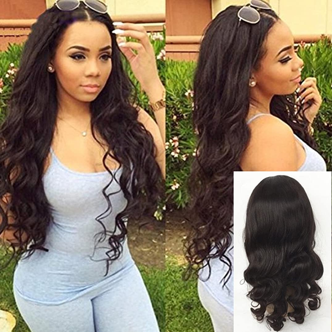JYL Hair 360 Lace Frontal Wig Loose Wave Pre Plucked Hairline Bleached Knots Brazilian Virgin Hair Wig Human Hair Lace Wigs Glueless 180% Density with Baby Hair for Black Women (14'', natural color)