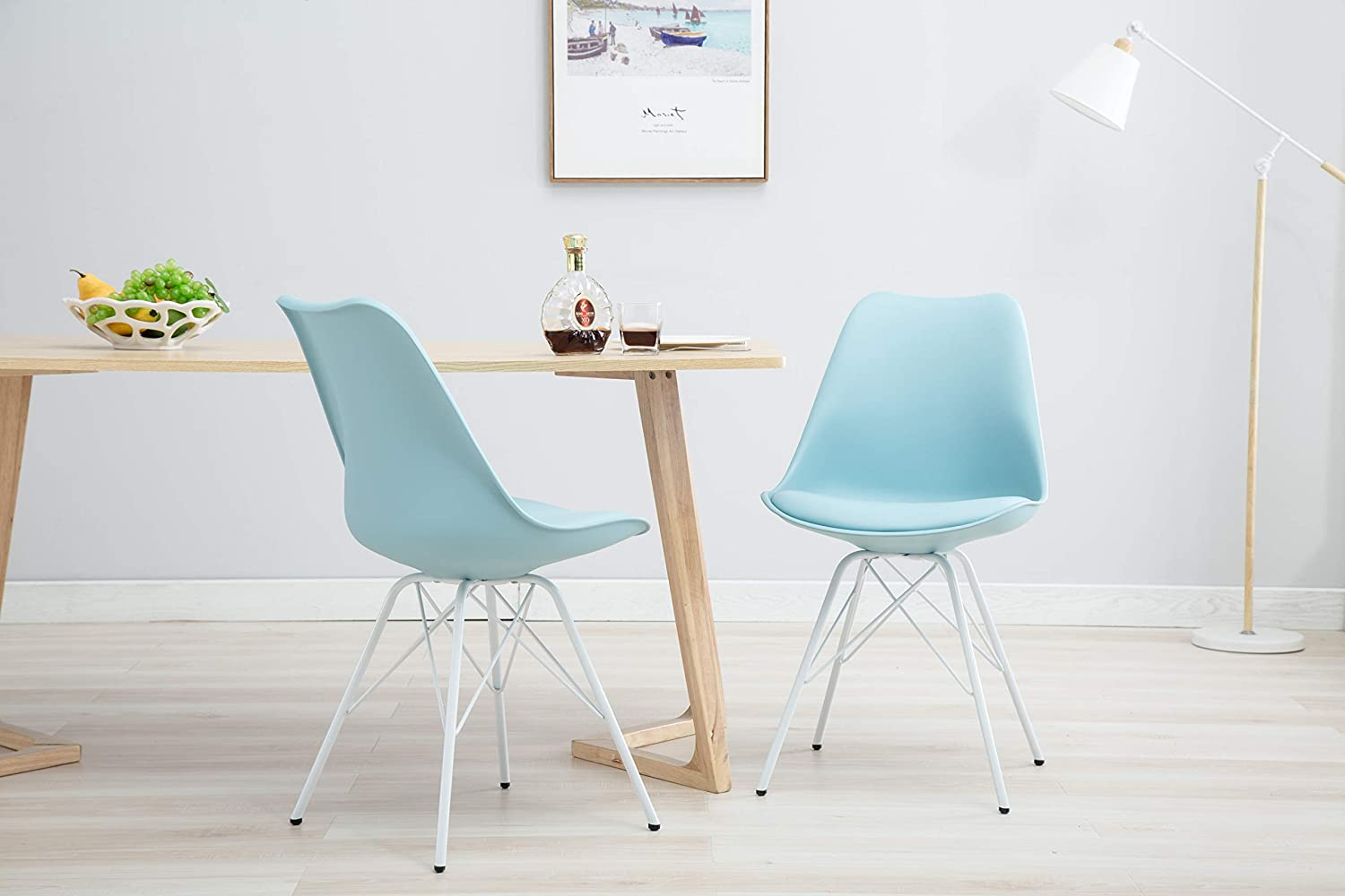 Porthos Home LVC011A blue Midcentury Modern Eames Style DSR Dining Room Chair with Unique White Wire Metal Base, Easy Assembly, One Size, bluee