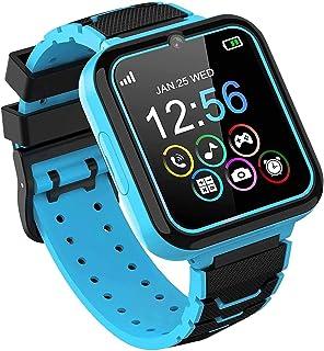 Smart klocka för barn, smartklocka för barn med telefonsamtal spel musikspelare SOS miniräknare inspelare väckarklocka [1 ...