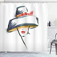Ambesonne Modern Shower Curtain, Modern Fashion Woman with Vintage Hat Romantic Print, Cloth Fabric Bathroom Decor Set with Hooks, 70 Long, Blue Grey