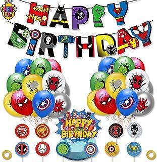 Superhero Party Supplies Kit,Captain spider man Birthday Banner suit, Spider-Man Latex Balloons, Superhero Theme Party Dec...