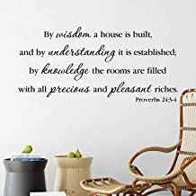 Teisyouhu Novelty Wall Decor Proverbs 24:3 4 by Wisdom A House is Built Bible Verse Church Office Decor Vinyl Removable Mural Wall Sticker