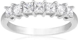 Platinum-Plated Sterling Silver Swarovski Zirconia Princess-Cut 7-Stone Ring