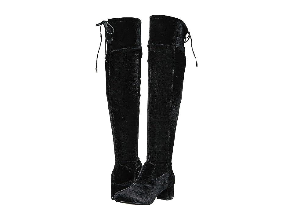 MICHAEL Michael Kors Jamie Over the Knee Boot (Black Velvet Stretch) Women