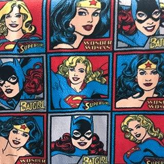 DC Comics Girl Power Squares Anti Pill Premium Fleece Fabric, 60