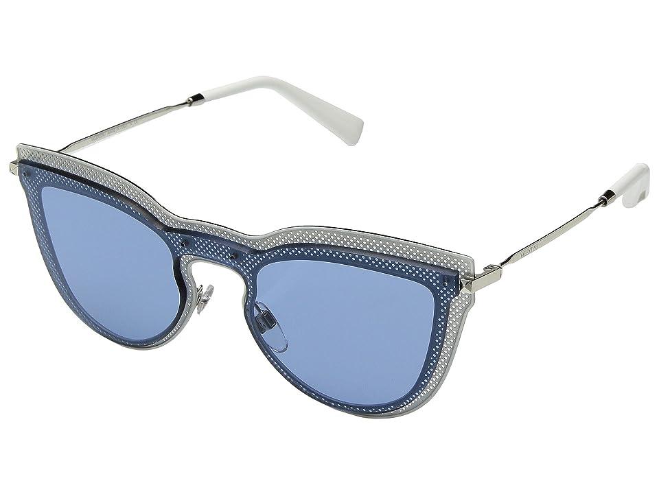 Valentino 0VA2018 (Silver Top White/Light Blue) Fashion Sunglasses