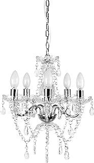Tadpoles 5 Bulb Genuine Grand Chandelier, Clear Crystal