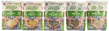 ECOLIFE Arhar Dal, Moong Bean Whole, Moong Dhuli, Moong Bean Split, Urad Split Pouch, 500 g