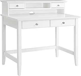Crosley Furniture Campbell Writing Desk with Hutch - White