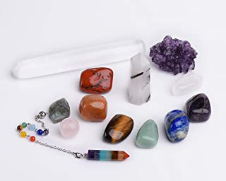 AMOYSTONE Chakra Crystal Stones Healing Kit 13 pcs Spiritual Metaphysical Reiki Chakra Balancing Meditation Energy Work Natural Stones