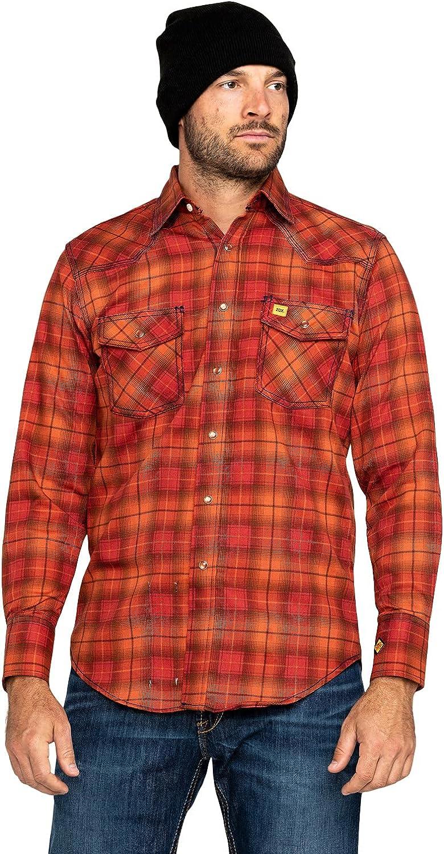 Wrangler Men's Orange 20X Fr Long Sleeve Fashion Plaid Shirt Big