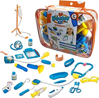 Toy Doctor Kit for Kids - Skoolzy Hospital Pretend Play Set - Toddler Toys for 3 4 5 Year Old Boys and Girls - Montessori Dramatic Play Dr Dress Up Games Sounds & Lights Stethoscope