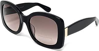 Womens Leah Acetate Black Square Sunglasses With UV400 Gradient Smoke Lens