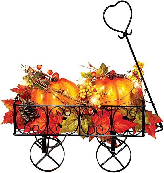 Collections Etc Lighted Metal Pumpkin Wagon With Leaves And Berries Fall Outdoor And Indoor D Cor Yard Garden Porch For Thanksgiving