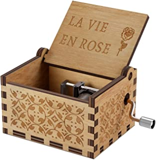 Wood Music Boxes- La Vie En Rose Carved Hand Crank Musical Box Wooden Classic Handmade Engraved Valentines Birthday Gift f...