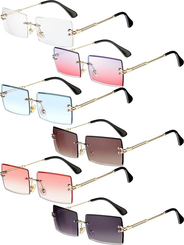 6 Pairs Rimless Rectangle Sunglasses Frameless Square Glasses Candy Color Unisex Glasses Eyewear for Women Men