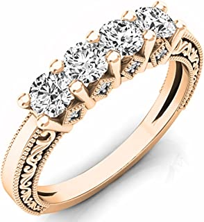 Dazzlingrock Collection 0.75 Carat (ctw) 14K Gold Round White Diamond Ladies Anniversary Wedding Stackable Band Ring 3/4 CT