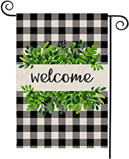 OuMuaMua Leaf Wreath Welcome Garden Flag Vertical Double Sided Buffalo Plaid Burlap Spring Yard Flags for Spring Summer Fa...