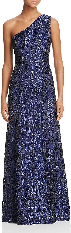 Aidan Mattox Womens Soutache Embroidered One Shoulder Evening Dress