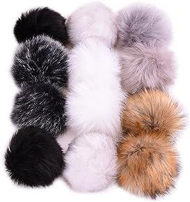 Fake Fur Pom Pom Large Faux Fur Pom Pom Wine Pom Pom Snap On Raccoon Pom Pom for Hat  Toque Cruelty Free White Pom Pom 7