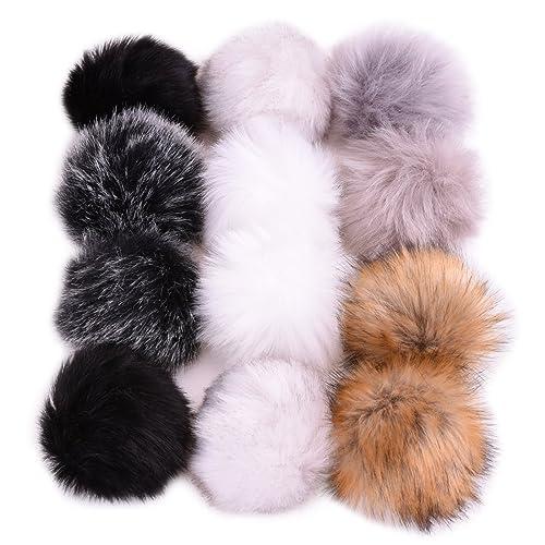 1c94a597 JINSEY 12pcs Faux Fox Fur Fluffy Pompom Ball For Hat Shoes Scarves Bag  Charms