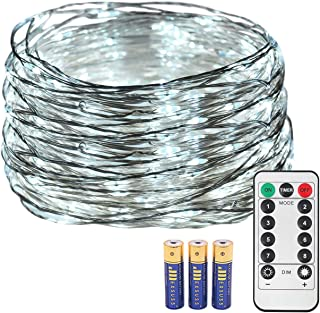 JMEXSUSS 8 Modes Timer Remote Control Fairy String Light 200 LED 65.6ft Battery Operated Waterproof Dimmable Copper Wire Lights for Christmas, Room, Wedding, Party Decor (200LED, White, with Battery)