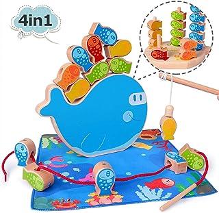 Rolimate Juego de Pesca Magnética de Madera Juego de apilamiento 4 en 1 Montessori Juguetes magnéticos y clasificador de Cuentas Juguetes Motricidad Fina Juguete Cumpleaños 3 4 5+años Niño Niña Bebé