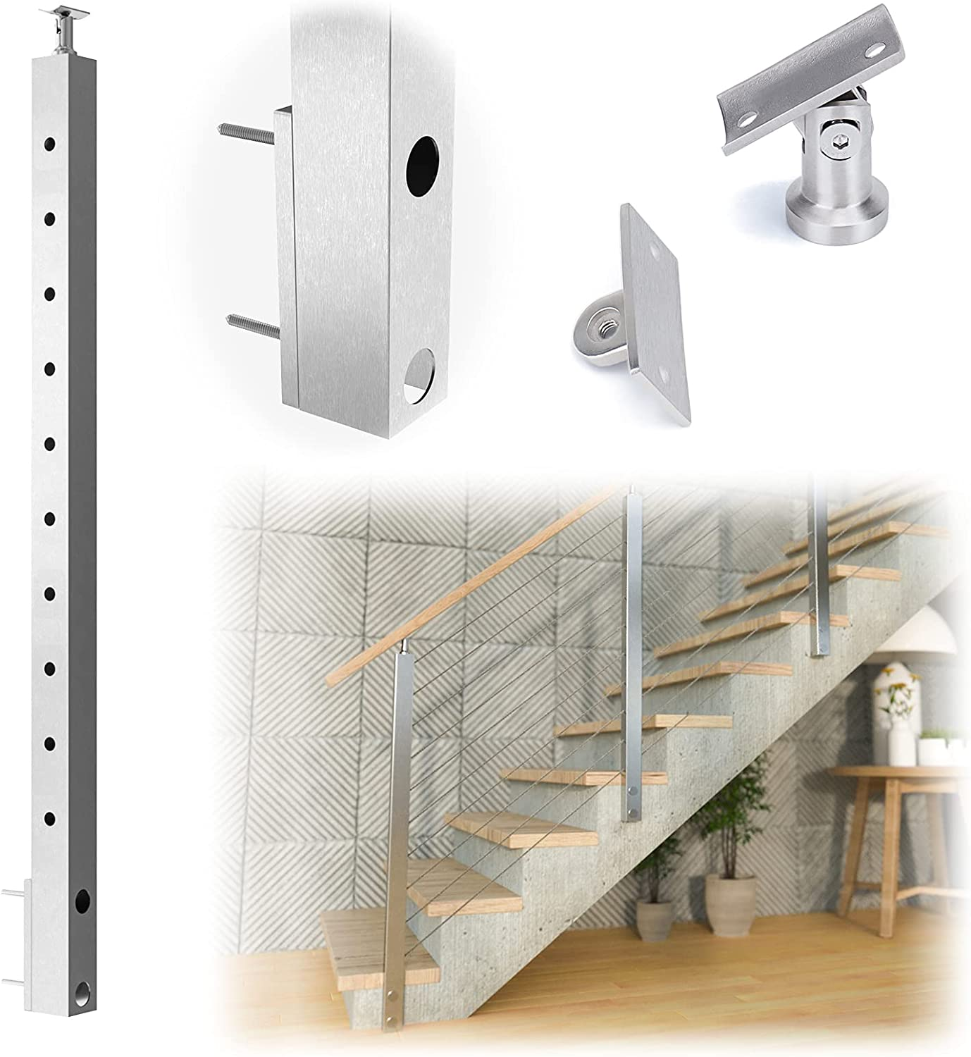 """Muzata Cable Railing Side Mounted Ranking TOP17 half 36""""x2 Post Square Brushed"""
