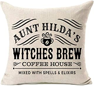 MFGNEH Aunt Hilda's Witches Brew Halloween Pillow Covers 18x18,Halloween Decorations Cotton Linen Cushion Covers for Sofa,Halloween Decor