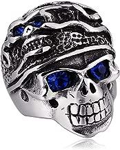 Daesar Stainless Steel Rings for Men Gothic Skull Eyes with Cz Silver Ring Men Ring Punk