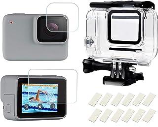 SHOOT Carcasa 30m Impermeable para GoPro Hero 7 Blanco/Plata98ft Buceo Funda Protectora con Película de Pantalla Templada e Inserto Antiniebla para GoPro Hero 7 White y Hero 7 Silver