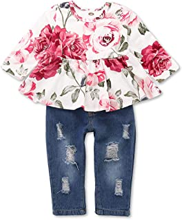 Toddler Girls Clothes,Baby Girl Outfit,Cute Floral Shirt Tops Denim Ripped Jeans Long Pant Infant Gift Clothing Set