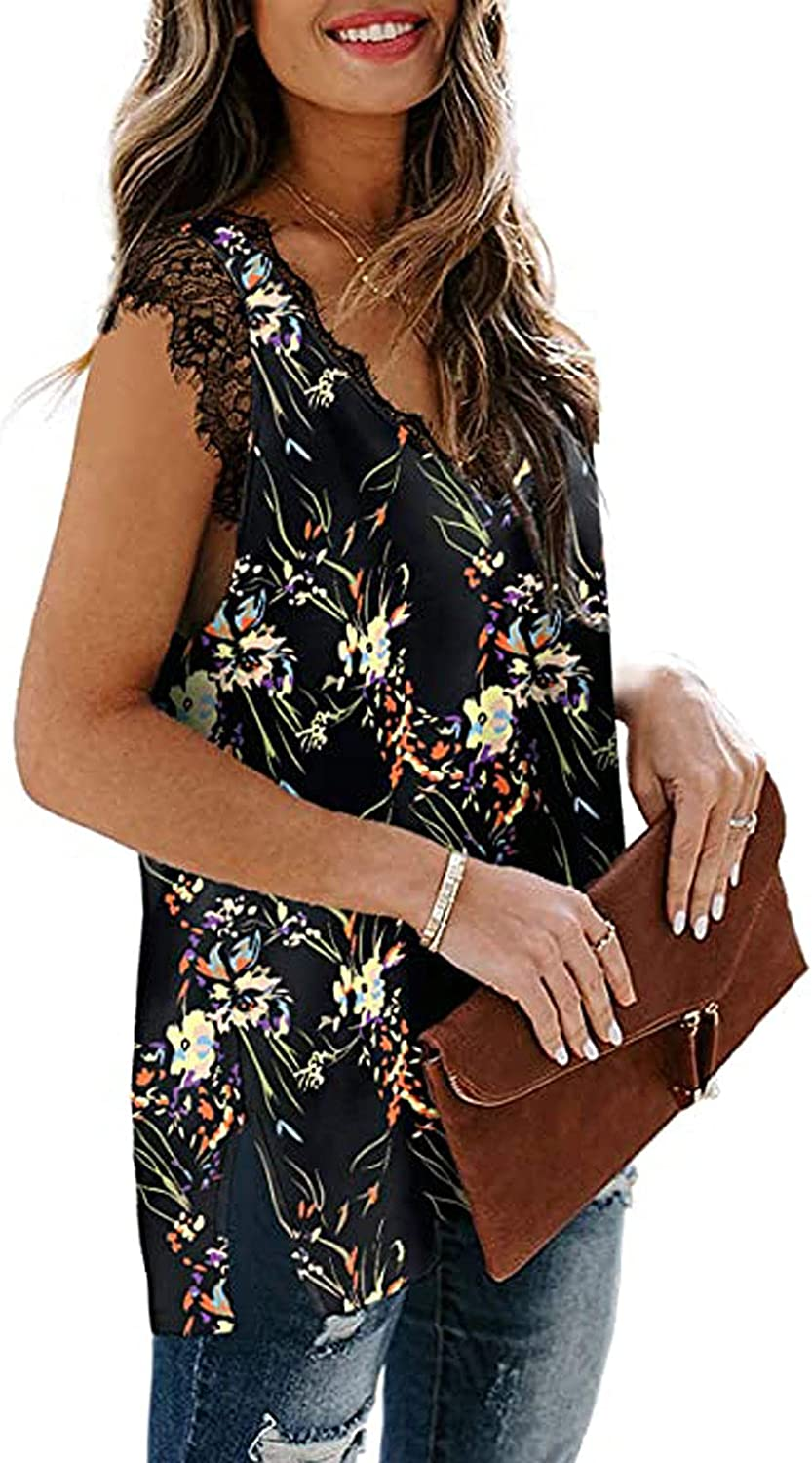 Womens Tank Top Floral Prints Soft Blouses Loose Sleeveless T-Shirts Fashion Lace V-Neck Collar Vest