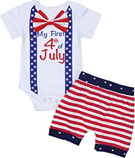 Von kilizo My 1st 4th of July Baby Boys Outfit American Flag Romper+ Stripe Shorts Pants 0 3 6 9 12 Months