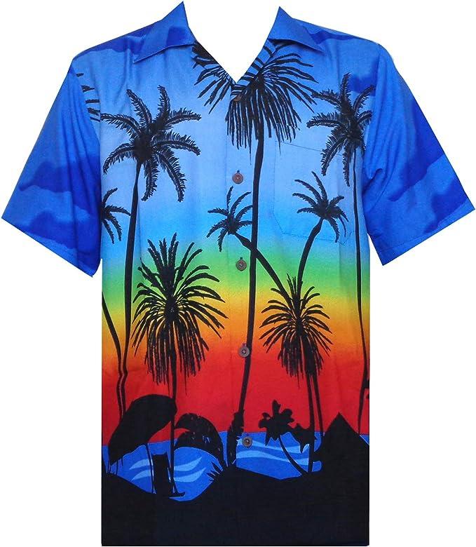 Camisas hawaianas para hombres palmeras tropicales estampadas Aloha vacaciones playa desgaste