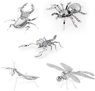 Set of 5 Metal Earth 3D Laser Cut Models - Bugs: Scorpion, Stag Beetle, Tarantula, Praying Mantis, & Dragonfly