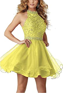 Jonlyc Sleeveless Halter Lace Appliques Beaded Homecoming Dress High Neck Tulle Graduation Party Gowns