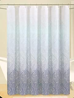 Cynthia Rowley Fabric Shower Curtain Geometric Medallion Pattern in White on a Blue Ombre Background - Ashanti Ombre