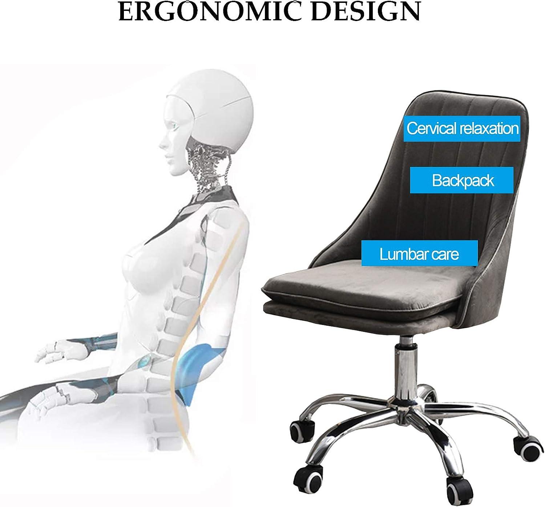 LIYIN Chaises de Bureau à Domicile Tabouret de Maquillage sans Bras en Velours Chaise de Travail d'ordinateur pivotante réglable Moderne, Charge maximale 200 kg Dark Gray