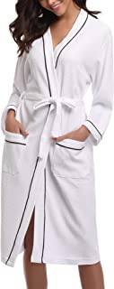 8caefddca19be Sykooria Femme Peignoir de Bain Waffle Kimono Tissage Gaufré Coton Peignoir  de Bain Waffle Robe de