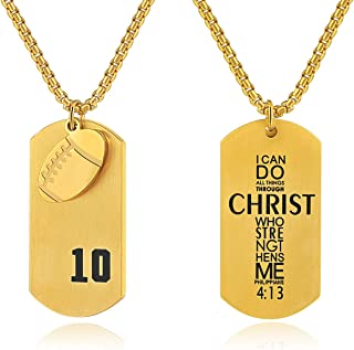 Godcow Men's Football Player No.10 Stainless Steel Cross Necklace I Can Do All Things Bible Verse Pendant