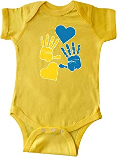Down Syndrome Awareness with Handprints and Hearts Blue Infant Creeper