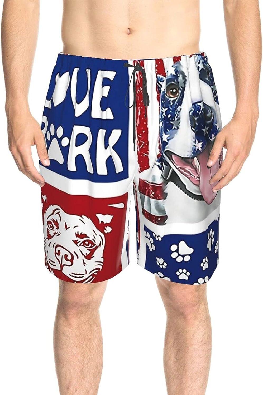 Mens Bathing Suits America Flag Love Bark Dog Swim Board Shorts Drawstring 3D Printed Summer Beach Shorts with Mesh Lining