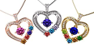 NANA Mother & Child Heart-Birthstone Pendant 1to6 Stones, Silver 10k or 14k Gold