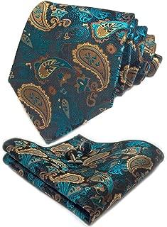 Men Paisley Tie Set Color Options Necktie with Pocket Square Cufflinks +Giftbox LSP8ZH